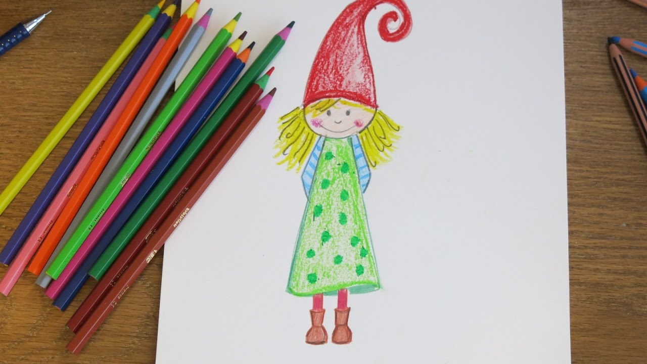 Christmas Gnome Drawing.Diy Drawing A Gnome Girl Cute Drawings For Kids