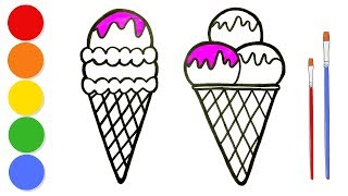 Glitter Ice Cream coloring and drawing for kids and toddlers | Learn colors | ArtLand