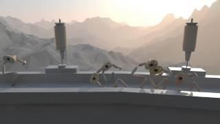 Dans un environnement désertique, une architecture est juchée entre...