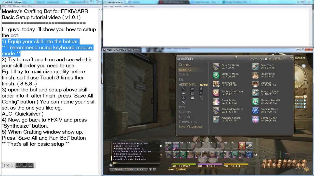 Moetoy's Crafting Bot for FFXIV:ARR Tutorial ( version 1 0 1 )
