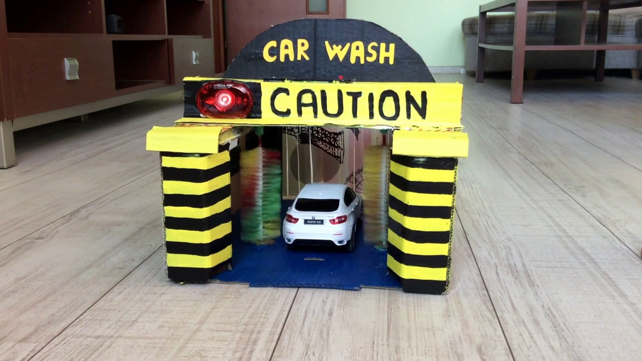 DIY Car Wash toy for kids made of cardboard - YouTube