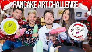 PANCAKE ART CHALLENGE | Christmas Edition 🎄Matt & Bise ft. Luca and Katy