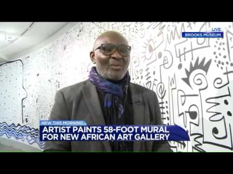 Visiting Artist Victor Ekpuk Paints New Mural for Brooks Museum