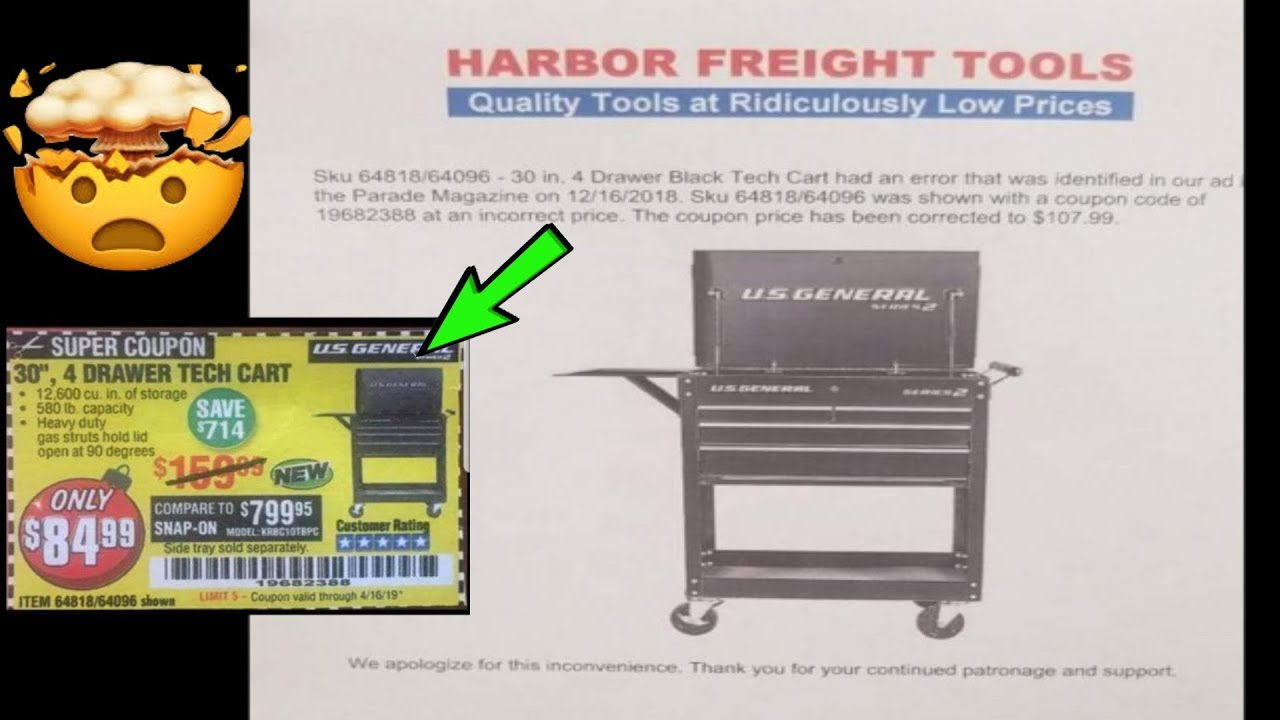 harbor freight 5 drawer tool cart coupon