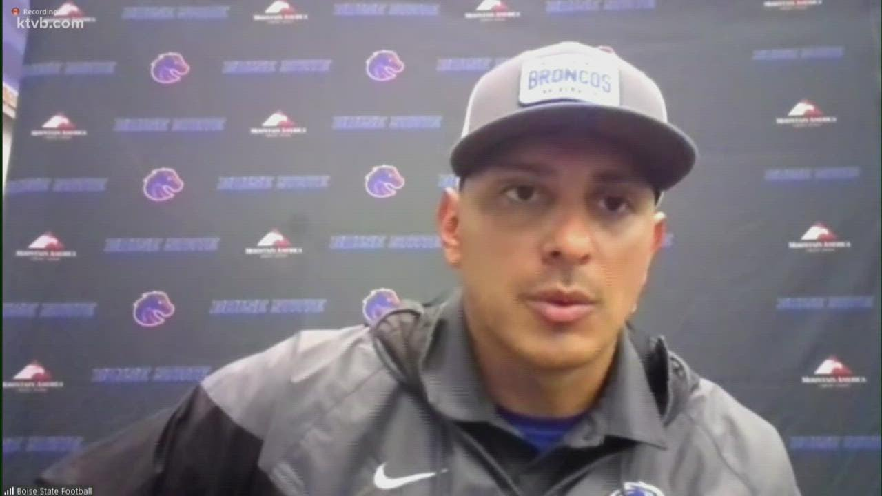 Watch: Boise State head coach Andy Avalos and Broncos players ...