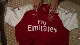 bestcheapsoccer.com 17-18 Arsenal Home Soccer Jersey Shirt Unboxing Review