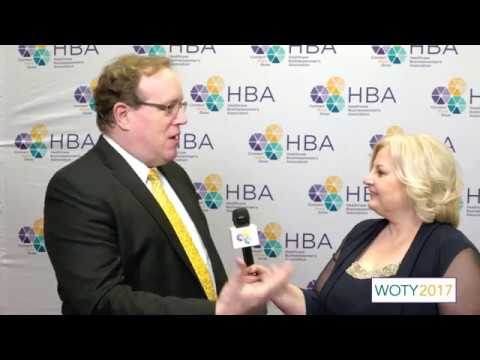 Rick Schroder of GlaxoSmithKline on the 2017 HBA Woman of the Year red carpet