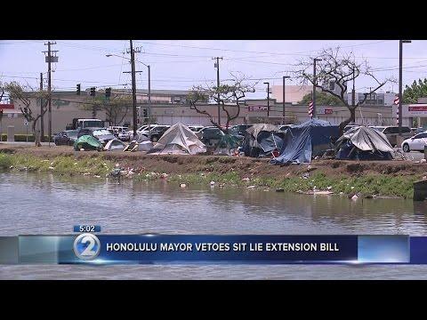 Honolulu mayor vetoes sit-lie ban expansion