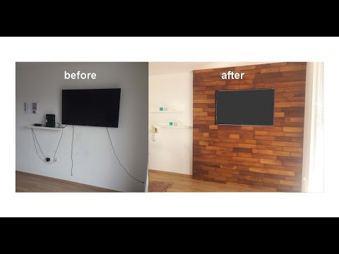How to hide TV equipment and cables cheap solution TV wall idea TV panel idea Used wood panels