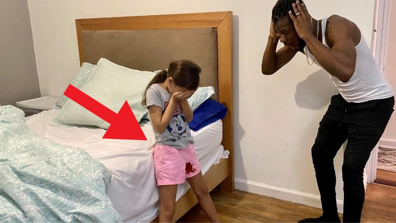 My 8yr Old Daughter Have Her First PERIOD - Prank On DAD