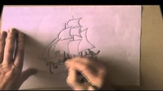 How draw sailing ship