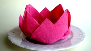 Repeat youtube video Servietten falten - Rose / Blüte / Blume - einfache Deko basteln Hochzeit - DIY Muttertag - Origami