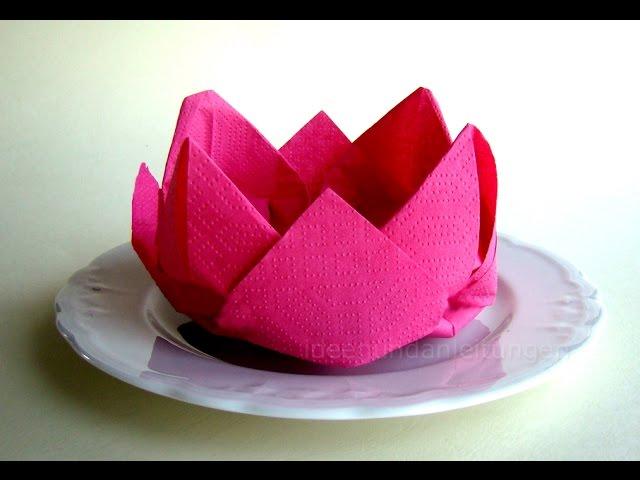 Servietten Falten Rose Blute Blume Einfache Deko Basteln