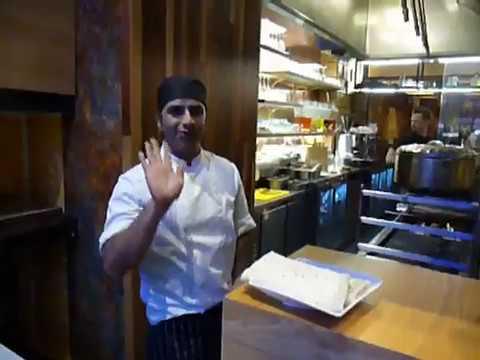 Chef Manoj Kumar making roti at Hankies - Shaftesbury Ave London