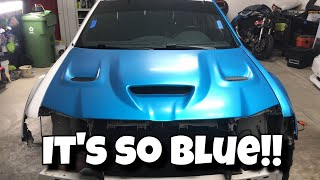 My Chrysler 300 SRT8 is so Blue | 3m Satin Ocean Shimmer wrap install on door and hood | Vlog