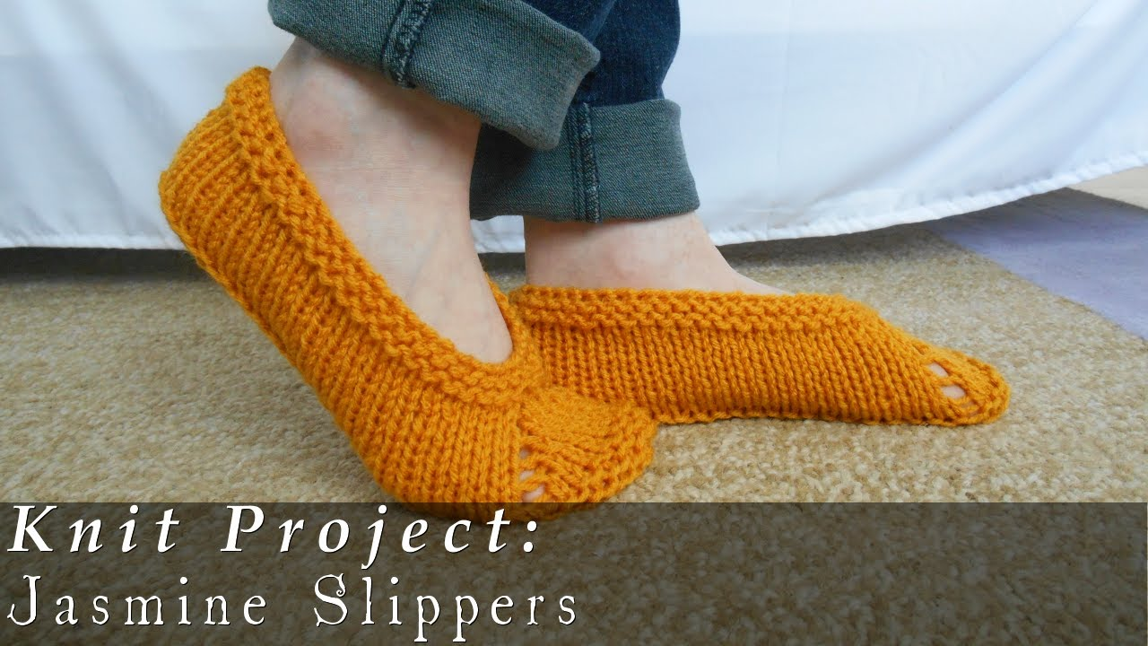 Knitted Slippers Pattern With Two Needles : Jasmine Slippers Quick & Easy { Knit } - YouTube