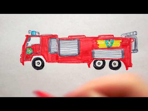 feuerwehrauto malen einfach - ausmalbilder