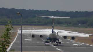 Powerful reverse thrust ! IL-76 landing and takeoff Delivering goods for Farnborough Airshow 2018