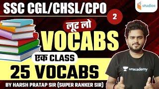 SSC CGL/CHSL/CPO   English by Harsh Pratap Sir   25 Vocabs   Part-2