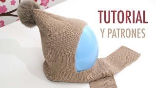 Repeat youtube video DIY Cómo hacer gorro de lana con bufanda (talla 6 a 18 meses)