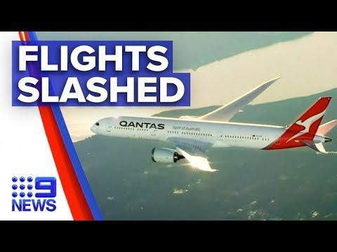 Coronavirus: 90 per cent of Qantas international flights cut | Nine News Australia