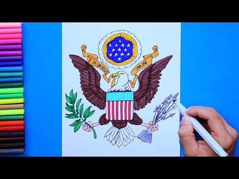 How To Draw USA Bald Eagle Emblem (Coat Of Arms)