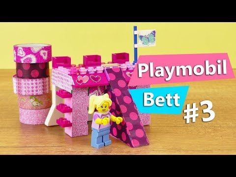 lego bett bauen teil 3 mit washi tape glitzerklebeband playmobil lego m bel selber machen. Black Bedroom Furniture Sets. Home Design Ideas