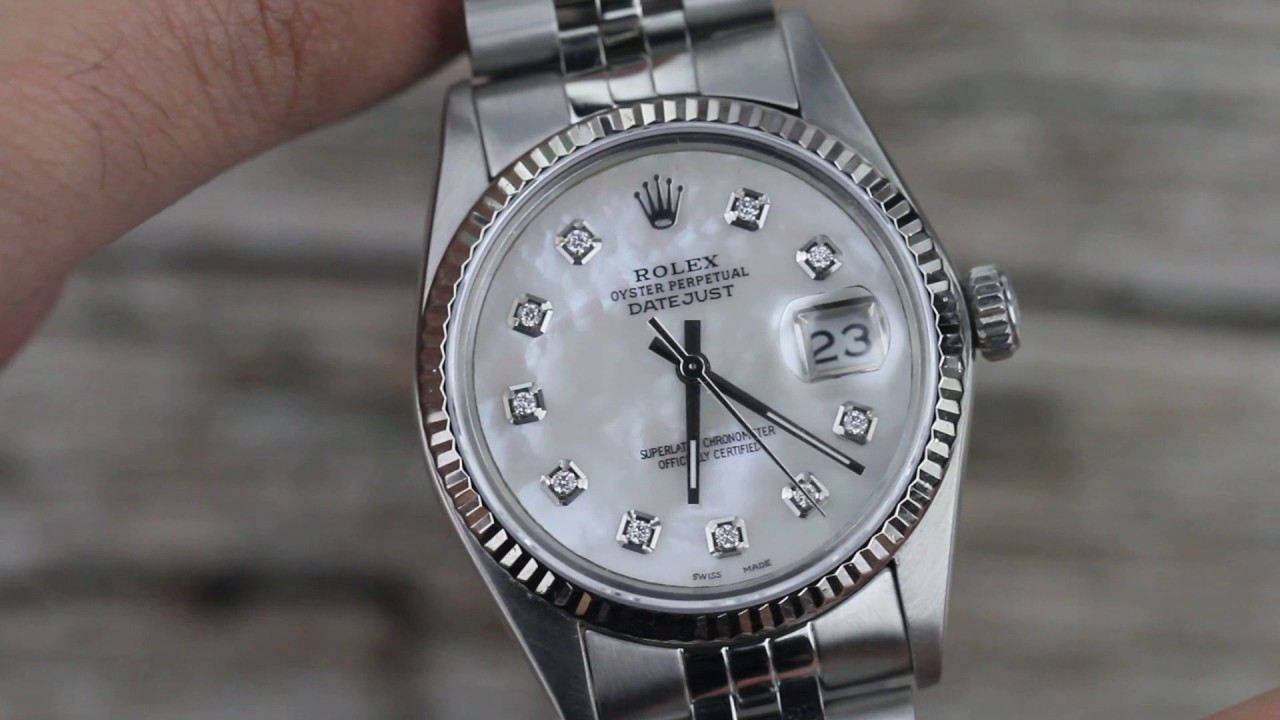 ROLEX DATEJUST WHITE MOP MOTHER OF PEARL DIAMOND DIAL 18K   SS JUBILEE 7b19a797bb0d