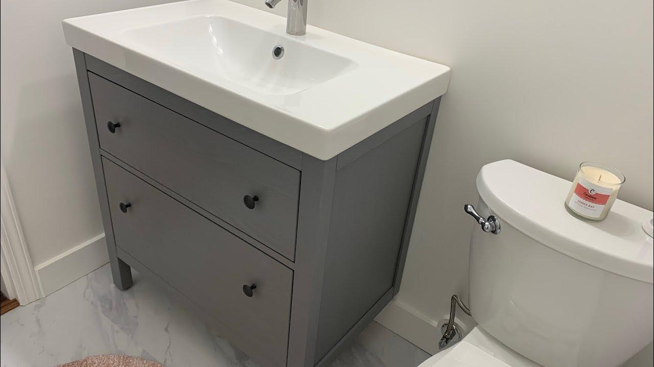 How To Install Ikea Hemnes Odensvik Dalskar Bathroom Vanity Youtube