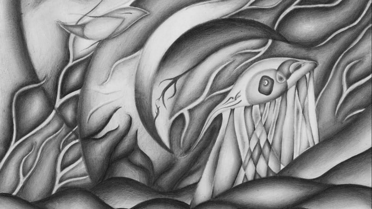 Wanderer abstract art graphite drawing timelapse youtube