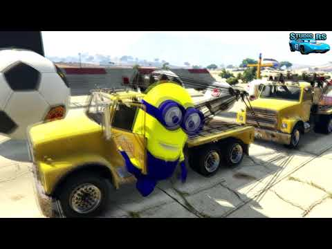 LEARN COLORS TOW TRUCKS MİNİONS & LİGHTNİNG MCQUEEN CARTOON FOR KİDS NURSERY RHYMES
