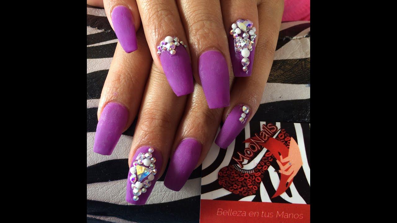 Uñas Morado y Violeta/Purple Nails - YouTube