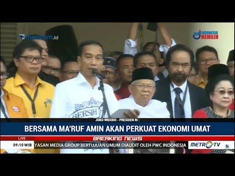 Pidato Jokowi Didampingi Ma'ruf Amin di Gedung Joang, Siap Daftar Ke KPU