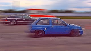 Opel Corsa A Turbo wins vs Mercedes E55 AMG Drag Race Acceleration & Sound