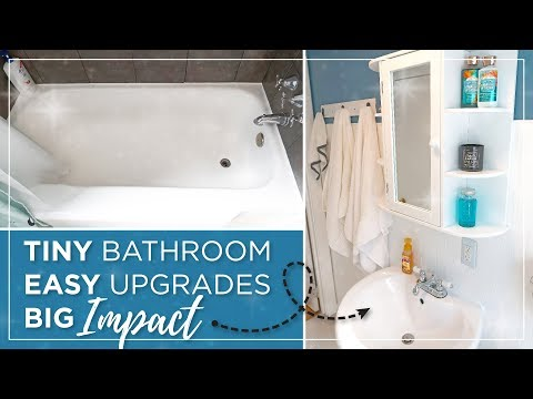 Small Bathroom DIY Budget Remodel   Cheap & Easy Bathroom Makeover   Bathroom Updates Before & After