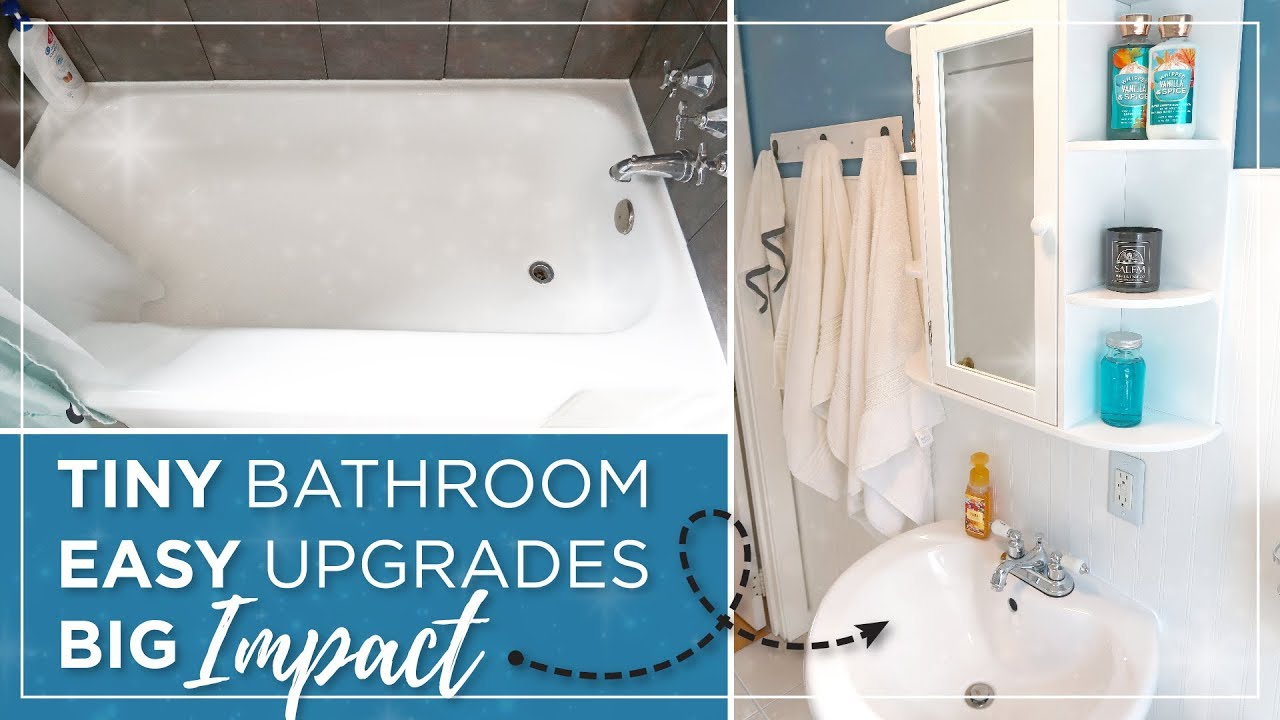 Small Bathroom Diy Budget Remodel Cheap Easy Bathroom Makeover Bathroom Updates Before After Youtube