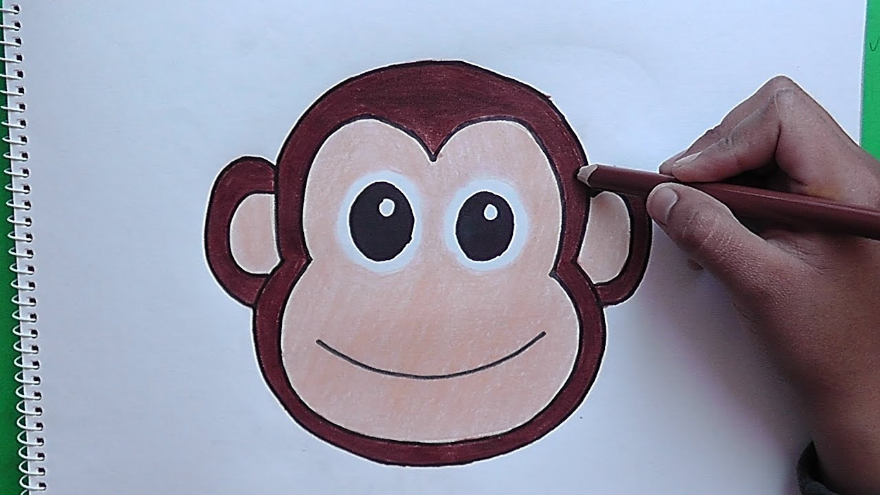Changuitos Para Dibujar como dibujar y colorear a rostro de mono - how to draw and color a monkey  face