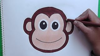 Como dibujar y colorear a Rostro de Mono - How to draw and color a Monkey Face