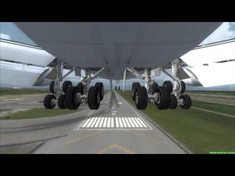 THAI 747-200 landing in Bangkok Gear Cam View [FSX]
