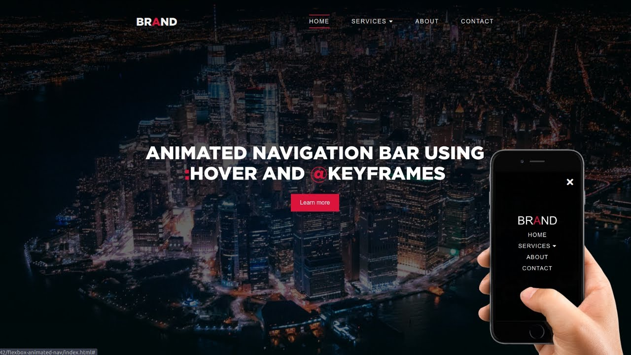 Animated Navigation Bar (Responsive in bio) | HTML and CSS Tutorial
