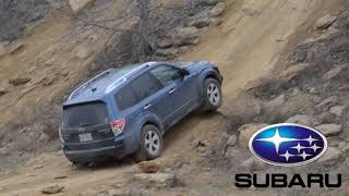 Mitsubishi Outlander (driven by Engineering Explained) vs Subaru Forester uphill,  forward + reverse