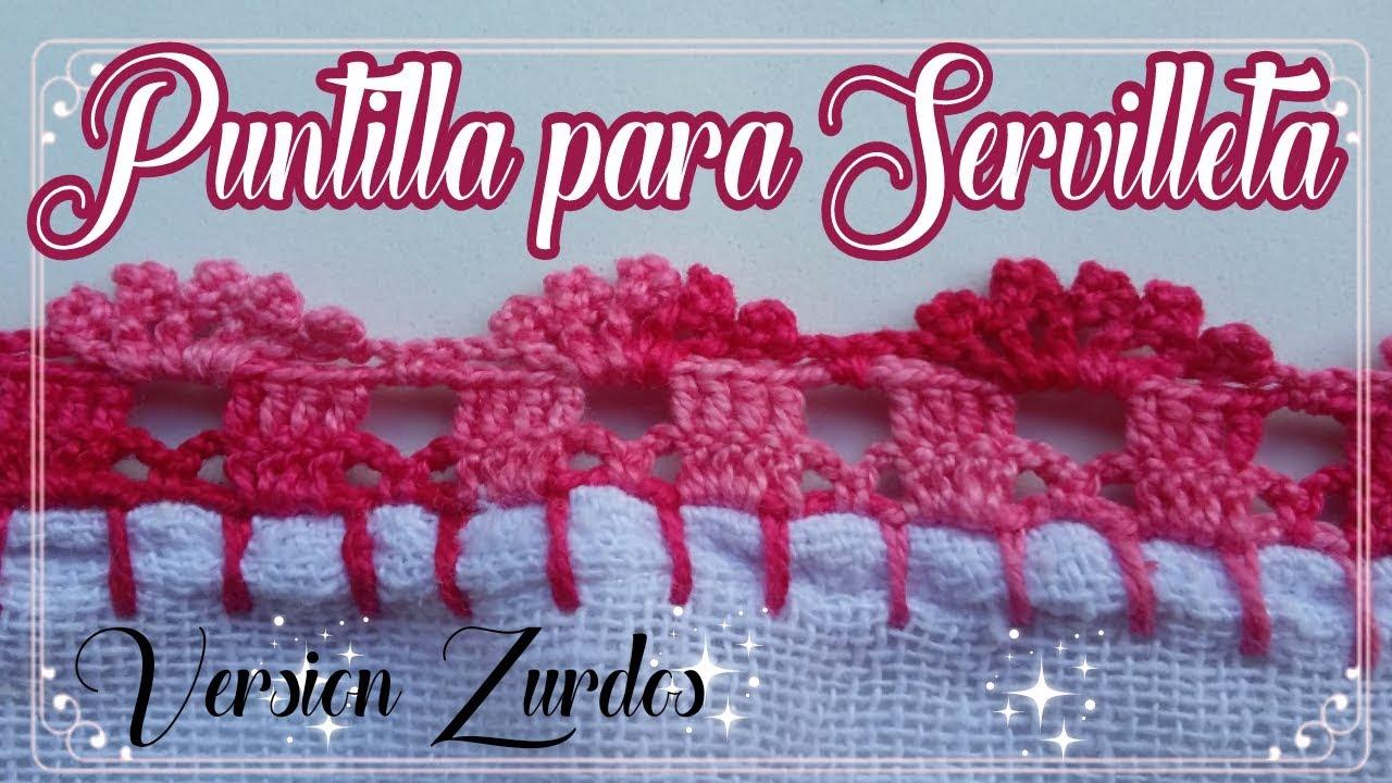 dbce4f541 Versión zurdos/ Puntilla para Servilleta fácil en Crochet para  Principiantes #25