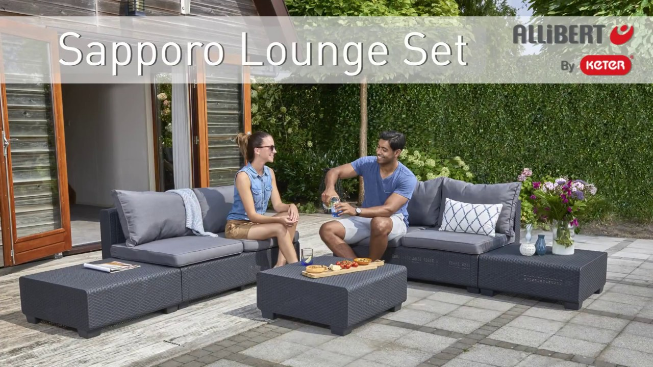 allibert by keter sapporo lounge set assembly video youtube. Black Bedroom Furniture Sets. Home Design Ideas