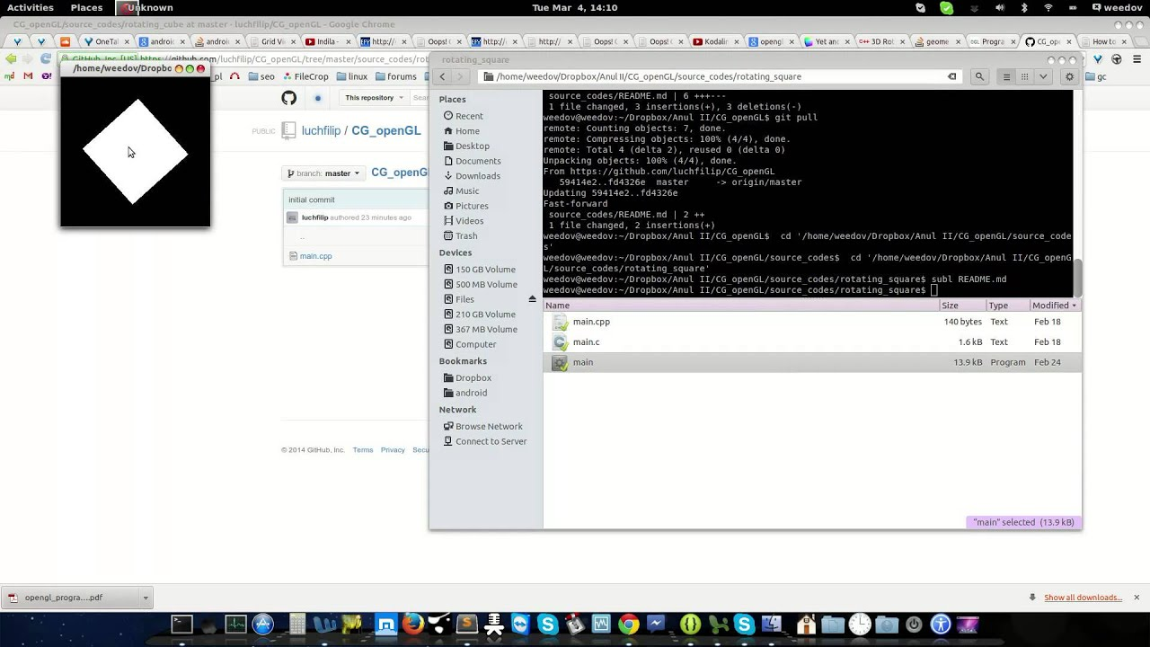 OpenGl Rotating Square C++ Linux Source Code
