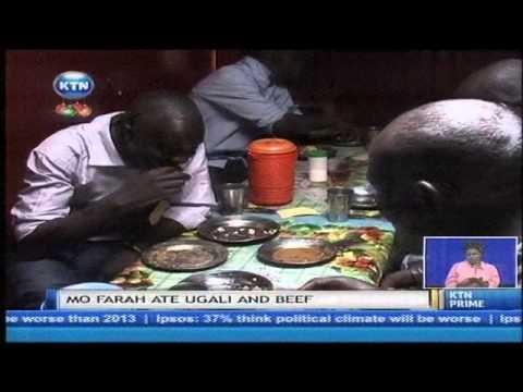 Mo Farah eats Ugali and beef in Iten
