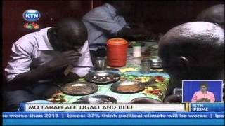 Mo Farah eats Ugali and beef in Iten