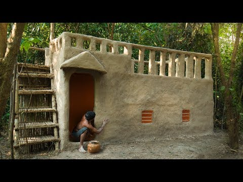 Build Incredible Mud Villa House in Deep Jungle Without Tools