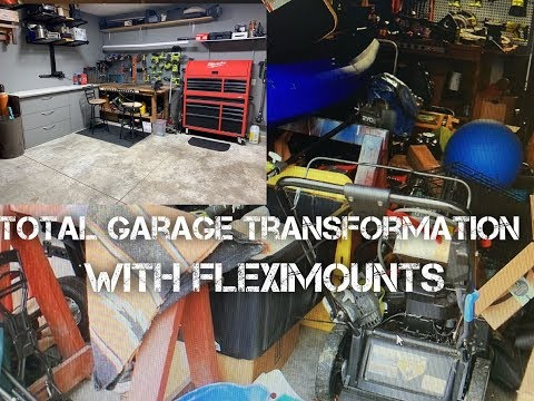 HOME GARAGE TRANSFORMATION AND STORAGE WITH FLEXIMOUNTS