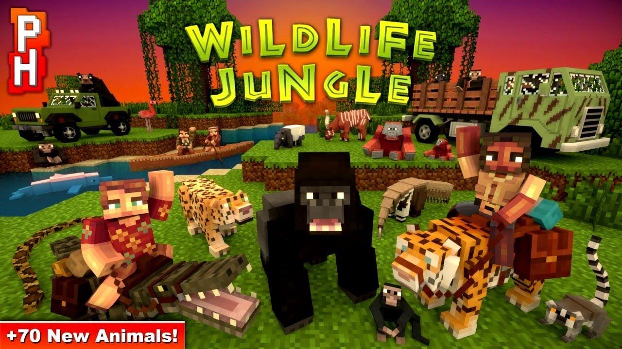 EXPLORING THE WILDLIFE JUNGLE! - 122 NEW MOBS!! Marketplace Map by Pixelhead  (Minecraft PE 12.1212)