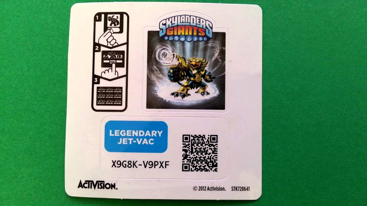 Legendary Jet-Vac Skylanders Giants Webcode / Onlinecode UNUSED ...